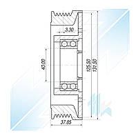 Шкив компрессора, GM/HARRISON V5, 6PK (PV6), 125,50/131,50 мм, Daewoo