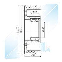 Шкив компрессора, SANDEN TRSE09, 6PK (PV6), 108,00/112,00 мм, Honda