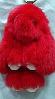 Брелок-кролик из натурального меха цвет красный длина 20см