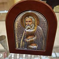 Икона Святой Серафим Саровский  покрытая 999 серебра