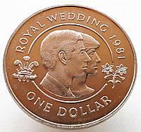 Бермуды 1 доллар 1981 - Свадьба принца Чарльза и леди Дианы