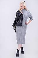 Женское теплое вязаное  платье за колено.  Осень - зима