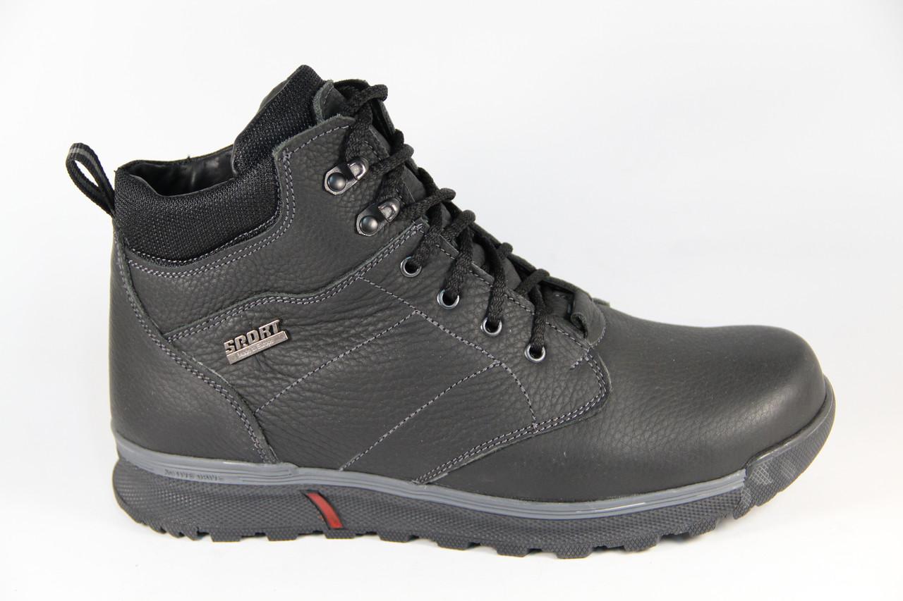 Зимние мужские ботинки, полуботинки черные натуральная кожа на шнурках DF8550
