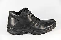 Зимние мужские ботинки, полуботинки черные натуральная кожа DF12