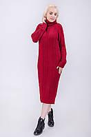 Вязанное теплое женское удлиненное платье