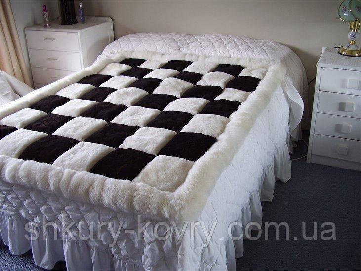 Купить черно белый ковер шахматы из ламы