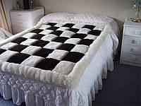 Купить черно белый ковер шахматы из ламы, фото 1