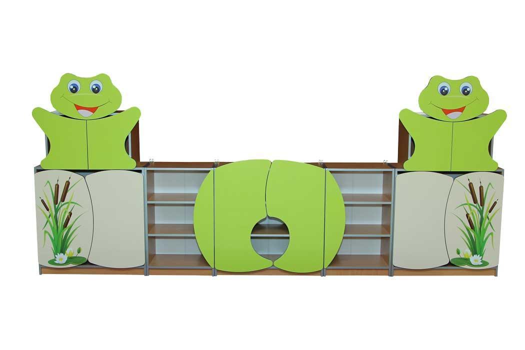 Стенка для игрушек Лягушонок с рисунком (3400*350*1480h)