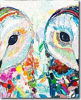 """Картина раскраска по номерам """"Цветочные совушки"""" набор для рисования"""