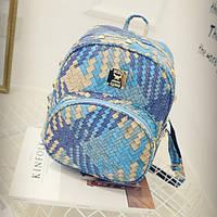 Голубой женский рюкзак Плетенка