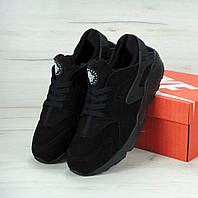 Кроссовки Nike Air Huarache Black Winter (С мехом) мужские