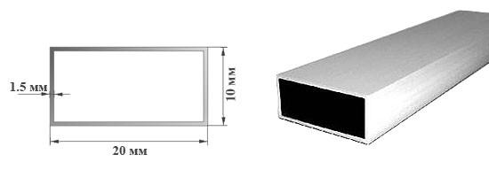 Алюминиевая профильная труба прямоугольного сечения