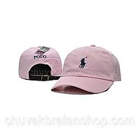 Кепка бейсболка Polo Ralph Lauren (кож. ремешок) розовая