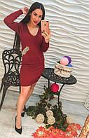 Женское эффектное платье с аппликацией из страз, в расцветках