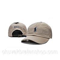 Кепка бейсболка Polo Ralph Lauren (кож. ремешок) бежевая