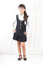 Школьная форма для девочек красивый недорогой сарафан черного цвета на регулируемых шлейках с кнопочками