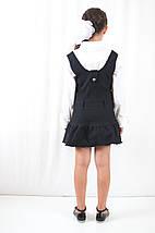 Школьная форма для девочек красивый недорогой сарафан черного цвета на регулируемых шлейках с кнопочками, фото 3