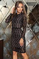 Женское платье гипюровое по колено BELLA цвет Черный