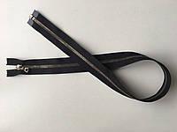 Застежка молния RIRI 6 метал полированная зубья ст.серебро светлое 65 см брелок Flach тесьма черная разъемная