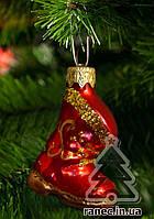Стеклянная елочная игрушка Сапожок красный Ф1  1833