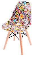 Детский стул AC-0117W-1 Eames DSW Kids с рисунком (принт), дизайн Charles & Ray Eames