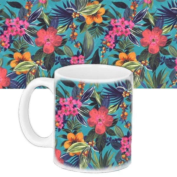 Кружка подарунок з принтом Тропічні квіти