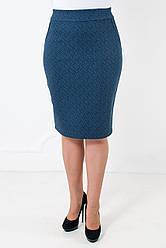 Трикотажная юбка карандаш с узором Илона голубая версия 3