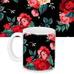 Кружка подарок с принтом Красные розы