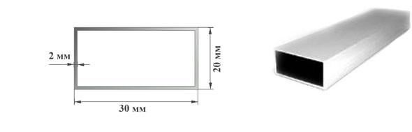 Алюминиевая профильная труба 30х20