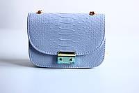 Голубая женская сумка под кожу питона ,кроссбоди,уценка