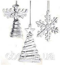 """Набір ялинкових прикрас """"Ангел, ялинка, сніжинка"""" 3 шт, Avon 13369"""