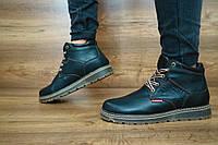 Мужские зимние ботинки Levi's (черные), ТОП-реплика, фото 1