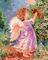 """Картина раскраска по номерам """"Девочка и щенок"""" набор для рисования"""