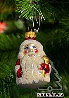 Стеклянная елочная игрушка Дед мороз маленький ф1 1838