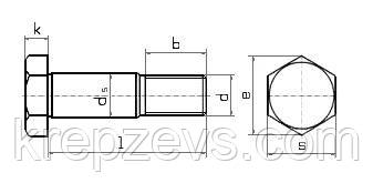 Схема габаритных размеров болта DIN 610