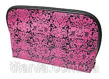 Косметичка черная с розовым принтом TITANIA 7765