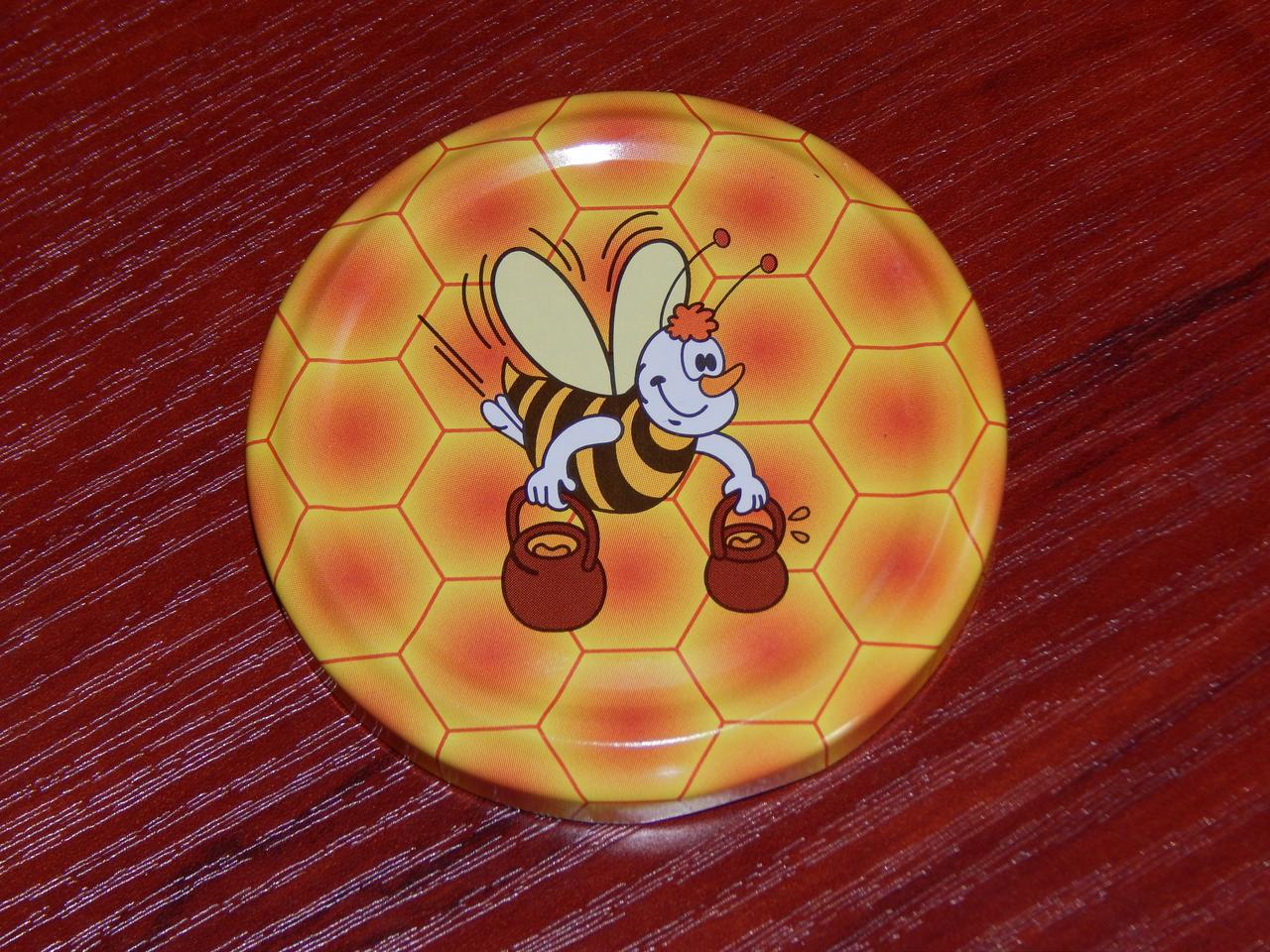 Крышка закаточная твист-офф размер 66 мм пчёлка с вёдрами