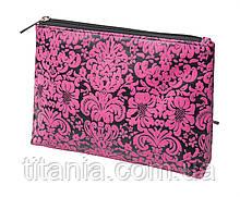 Косметичка черная с розовым принтом TITANIA 7766