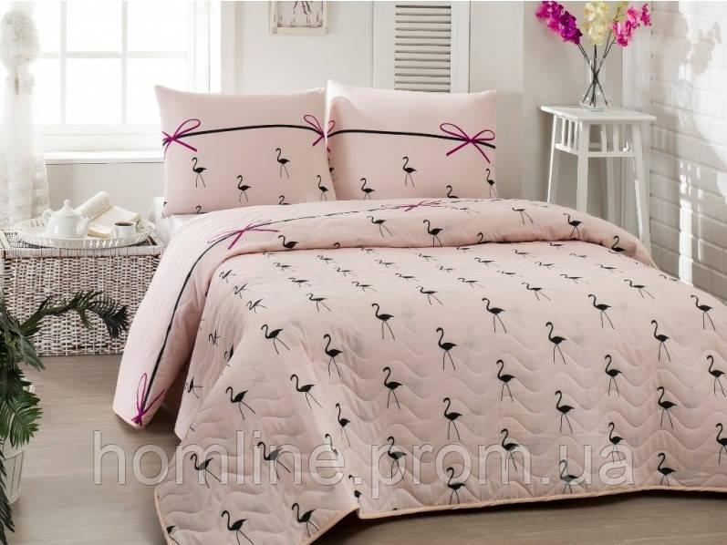 Покрывало стеганное с наволочками 200*220 Eponj Home Flamingo пудра