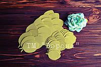 Вырубка листики розы с зубчиками  иранский фоамиран 014 оливковый