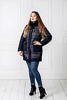 Куртка женская зимняя Сетка синий
