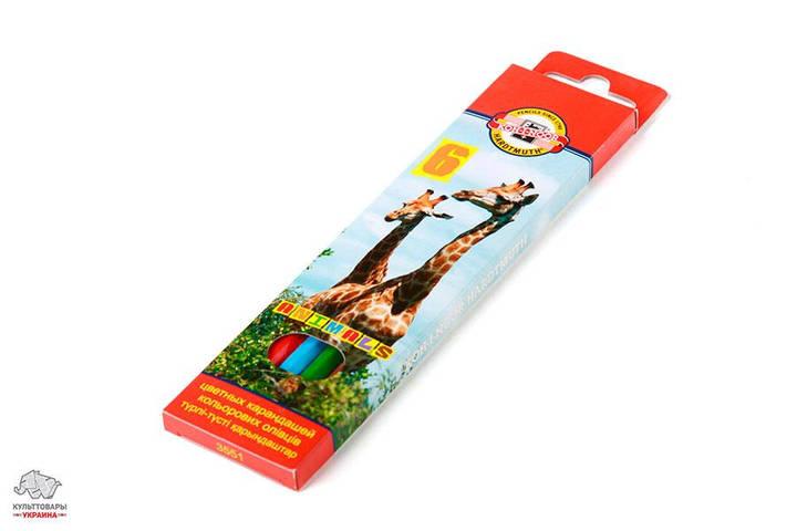 Карандаши цветные Kоh-I-Noor Зоопарк 6 цветов Арт. 3551