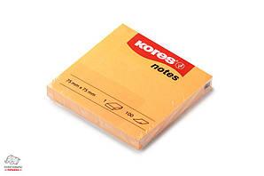 Бумага для заметок с клейким слоем Kores 75х75 мм 100 листов оранжевая Арт. K47084, 47074