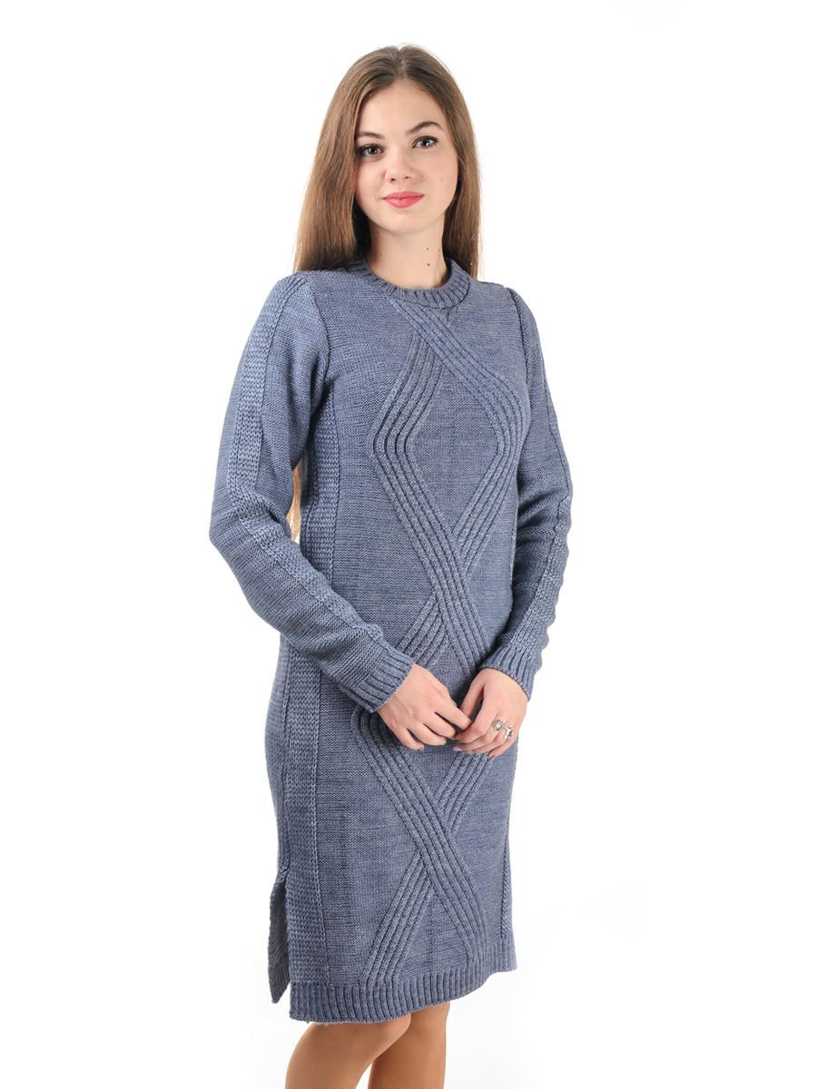 Теплое вязаное платье Irvik PL800ST темно серое