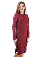 Теплое вязаное платье Irvik PL800B бордовое