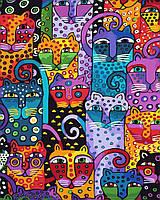 """Картина раскраска по номерам """"40 кошек"""" набор для рисования"""
