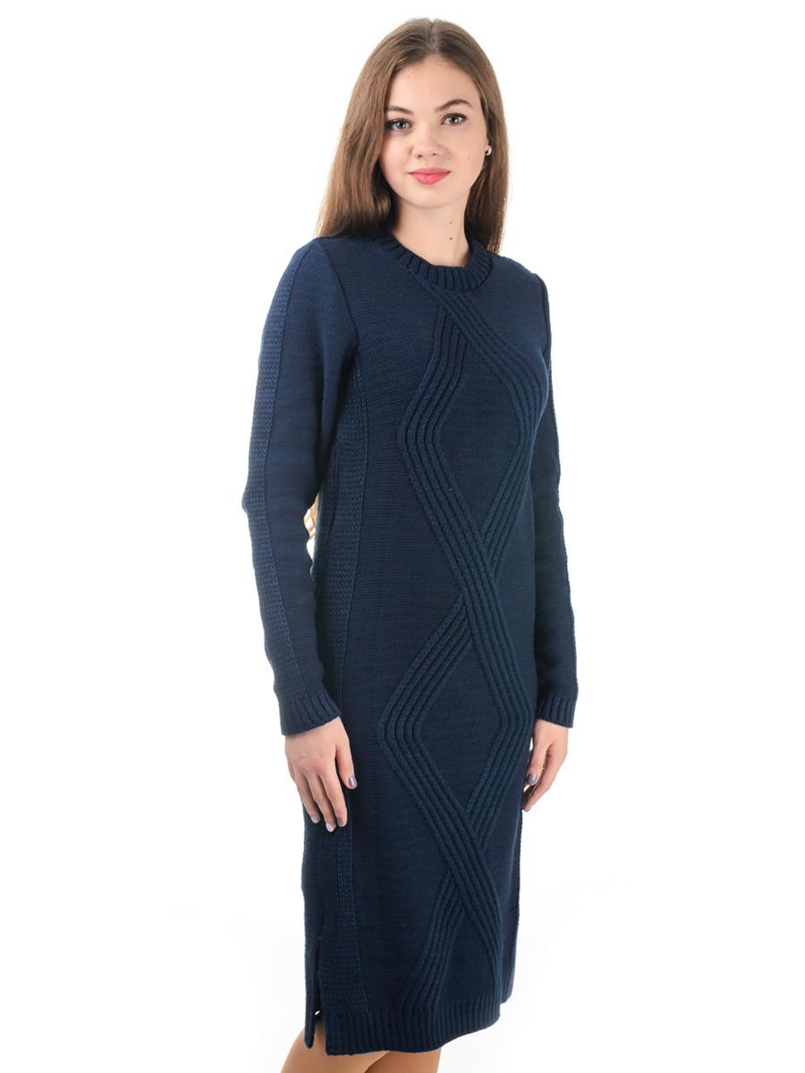 Теплое вязаное платье Irvik PL800C синее