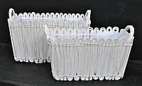 Набор из 2х красивых прямоугольных белых корзин 034