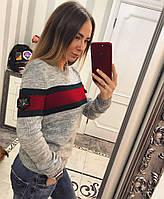 Прямой женский вязаный свитер с полосками на груди 74130