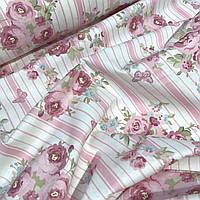 Турецкая ткань розы на полосках 240 см  № WH-019